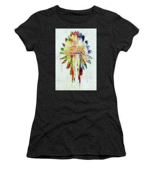 Colorful Lakota Sioux Headdress Women's T-Shirt (Athletic Fit)