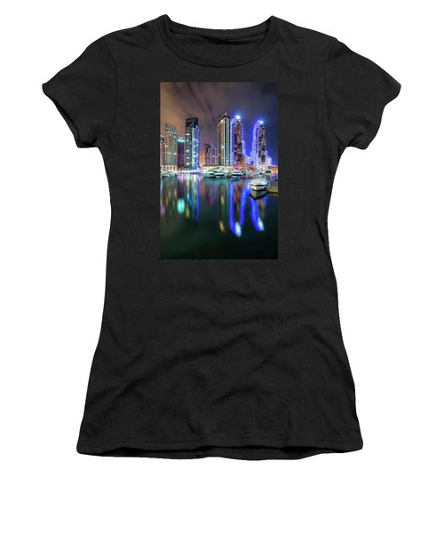 Colorful Night Dubai Marina Skyline, Dubai, United Arab Emirates Women's T-Shirt (Athletic Fit)