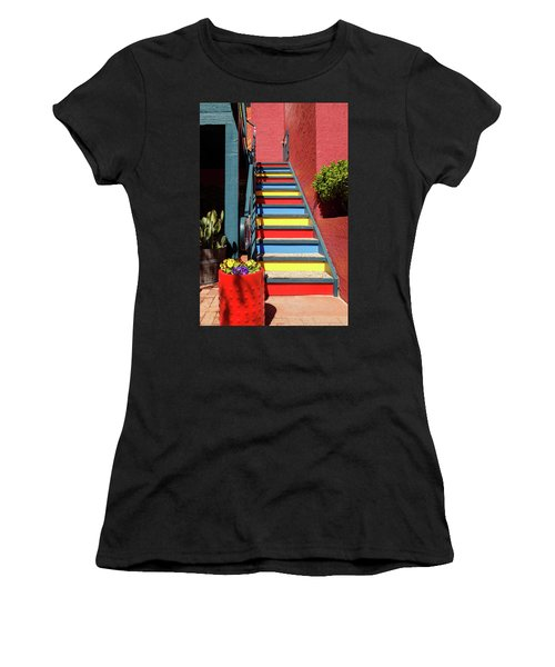 Women's T-Shirt (Junior Cut) featuring the photograph Colorful Stairs by James Eddy
