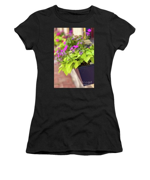 Colorful Summer Flowers In Window Box Women's T-Shirt
