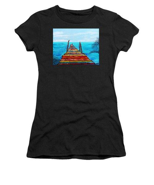 Colorful Tropical Pier Women's T-Shirt (Athletic Fit)