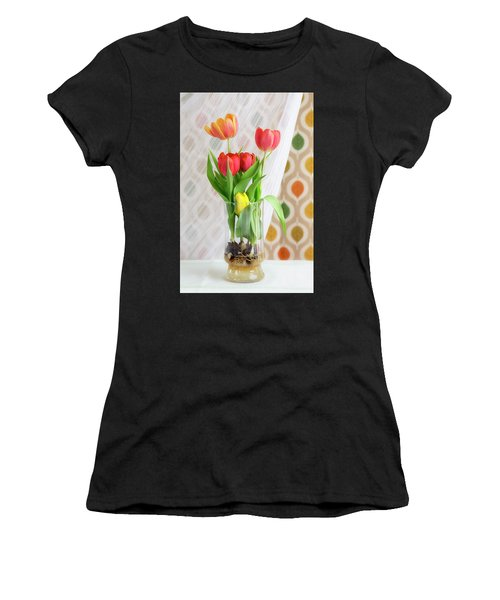 Colorful Tulips And Bulbs In Glass Vase Women's T-Shirt (Athletic Fit)
