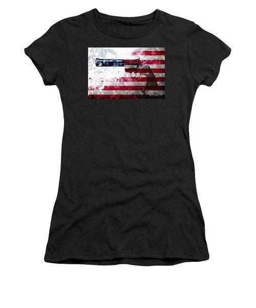 Colt Python 357 Mag On American Flag Women's T-Shirt