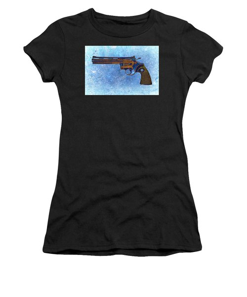 Colt Python 357 Mag On Blue Background. Women's T-Shirt