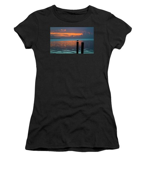Conch Key Sunset Bird On Piling Women's T-Shirt