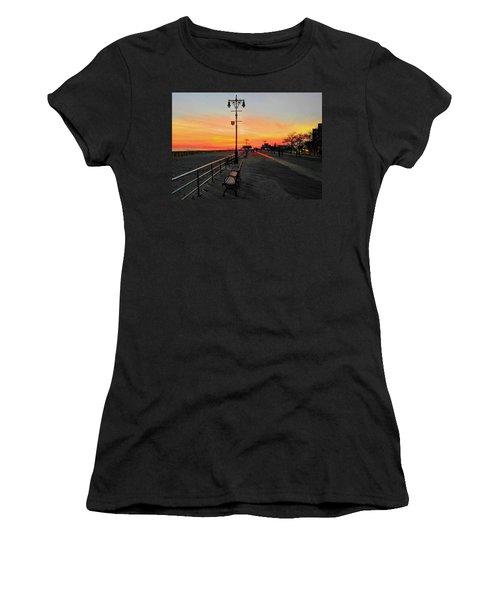 Coney Island Boardwalk Sunset Women's T-Shirt