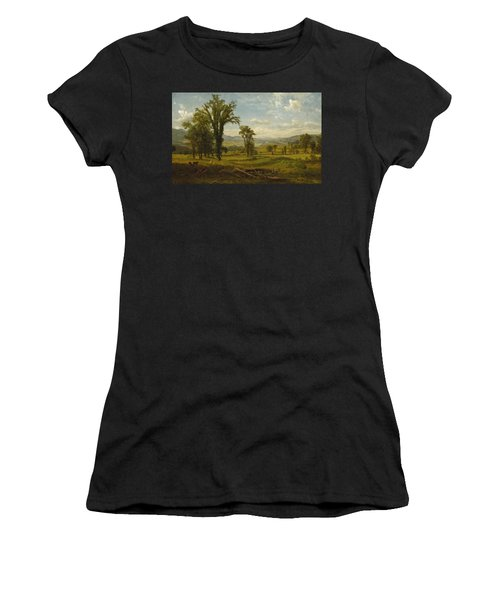 Women's T-Shirt featuring the painting Connecticut River Valley, Claremont, New Hampshire by Albert Bierstadt