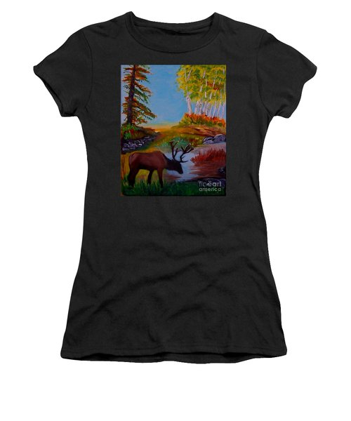 Women's T-Shirt (Junior Cut) featuring the painting Cool Drink by Leslie Allen