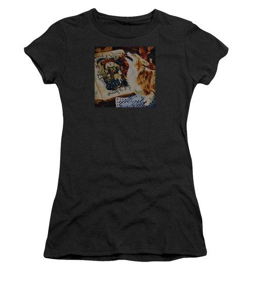 Women's T-Shirt (Junior Cut) featuring the digital art Corgi Appreciating Art by Kathy Kelly