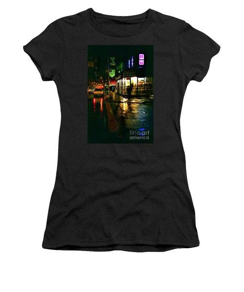 Women's T-Shirt (Junior Cut) featuring the photograph Corner In The Rain by Miriam Danar