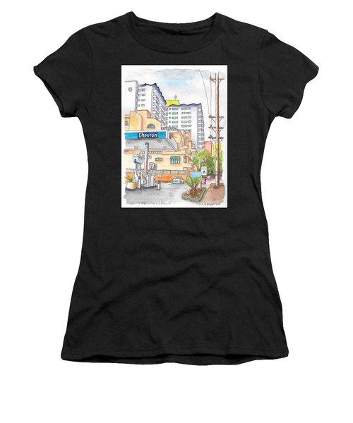 Corner La Cienega Blvd. And Hallway, Chevron Gas Station, West Hollywood, Ca Women's T-Shirt (Athletic Fit)