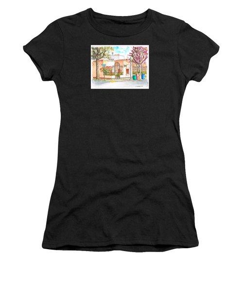 Corner With Bougainvillas In San Luis Obispo, California Women's T-Shirt (Athletic Fit)