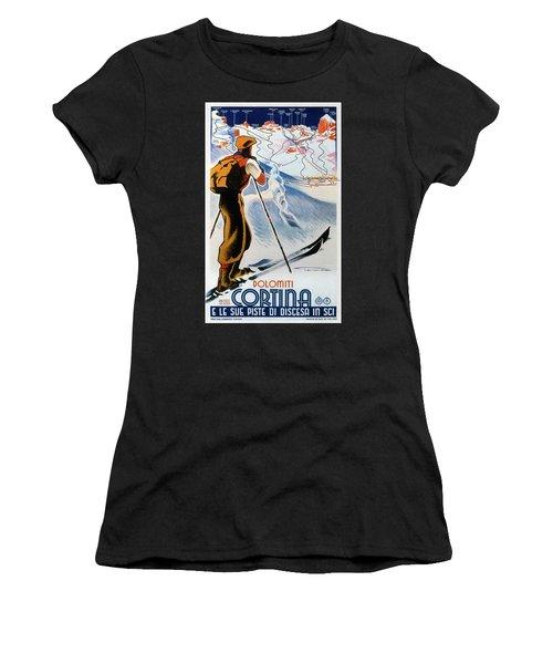 Cortina Dolomiti Skiing Vintage Travel Poster Women's T-Shirt