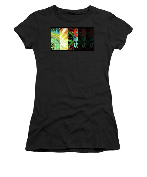 Women's T-Shirt (Athletic Fit) featuring the mixed media Cosmic Collage Mosaic Right Side by Shawn Dall