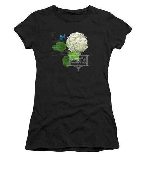 Cottage Garden White Hydrangea With Blue Butterfly Women's T-Shirt
