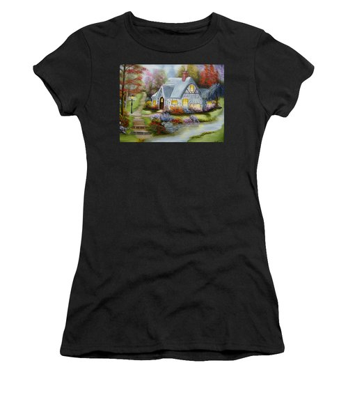 Cottage In Fall Women's T-Shirt (Athletic Fit)