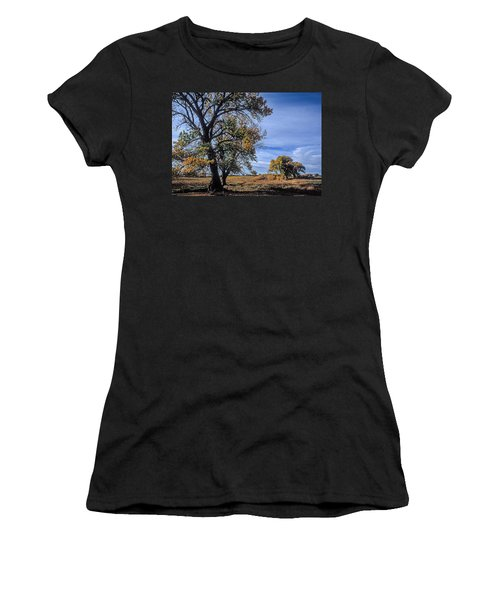 Cottonwood #5 Fall Ranch Colorado Blue Sky Women's T-Shirt (Athletic Fit)