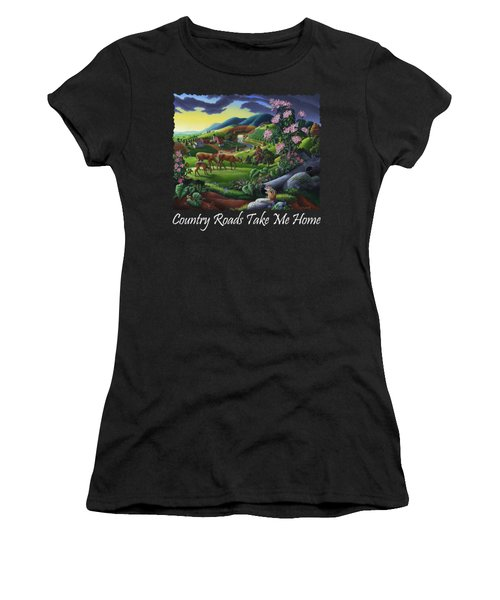 Country Roads Take Me Home T Shirt - Deer Chipmunk In High Meadow Appalachian Country Landscape 2 Women's T-Shirt