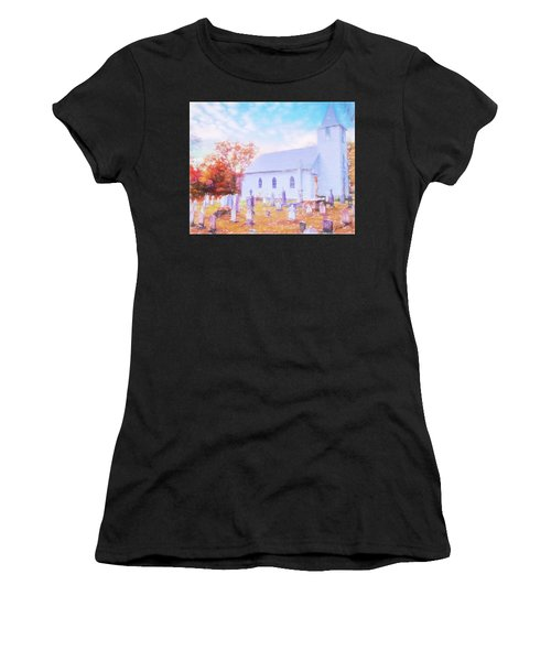 Country White Church And Old Cemetery. Women's T-Shirt