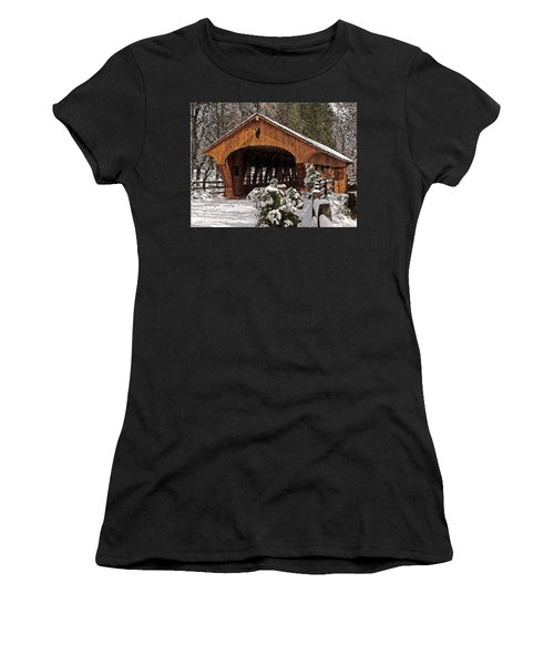 Covered Bridge At Olmsted Falls-winter-2 Women's T-Shirt