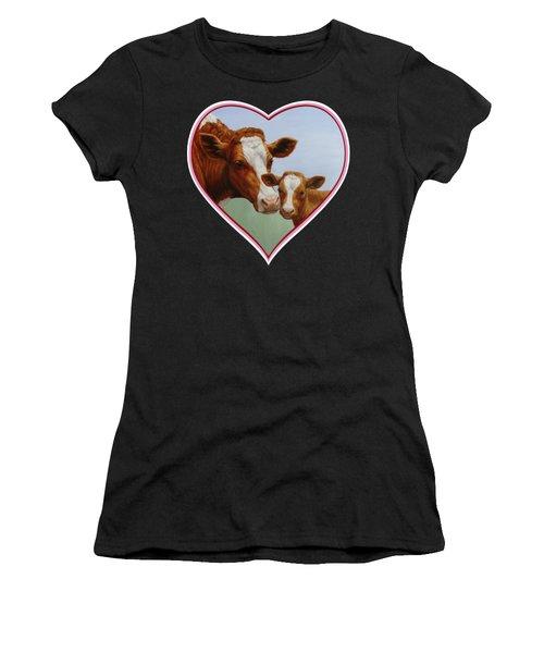 Cow And Calf Pink Heart Women's T-Shirt