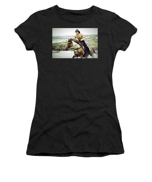 Cowboy Riding Horse On The Beach Women's T-Shirt