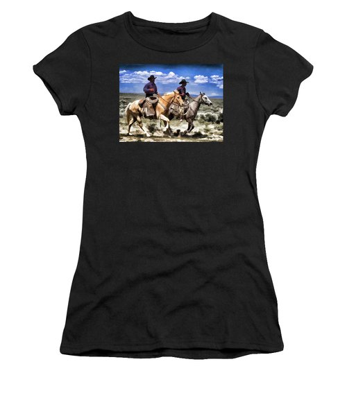 Cowboys On Horseback Riding The Range Women's T-Shirt
