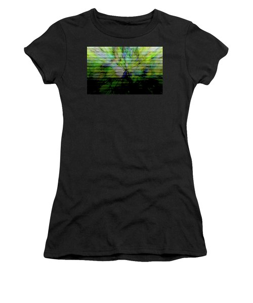 Cracked Abstract Green Women's T-Shirt (Athletic Fit)