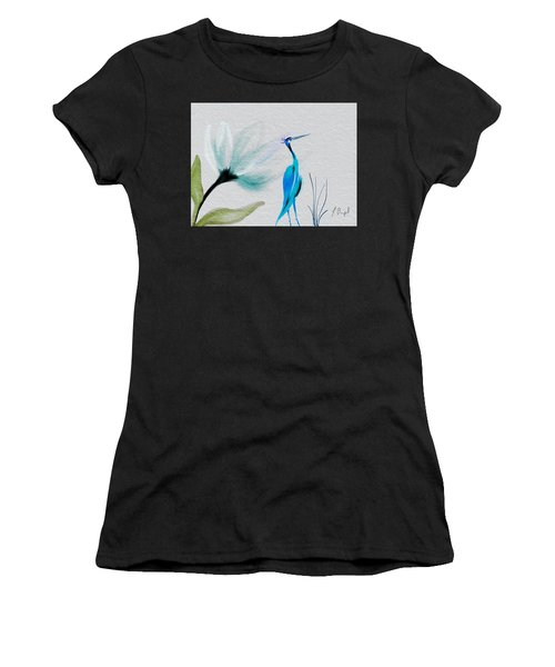 Crane And Flower Abstract Women's T-Shirt (Athletic Fit)