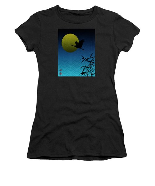 Women's T-Shirt (Junior Cut) featuring the digital art Crane And Yellow Moon by Christina Lihani