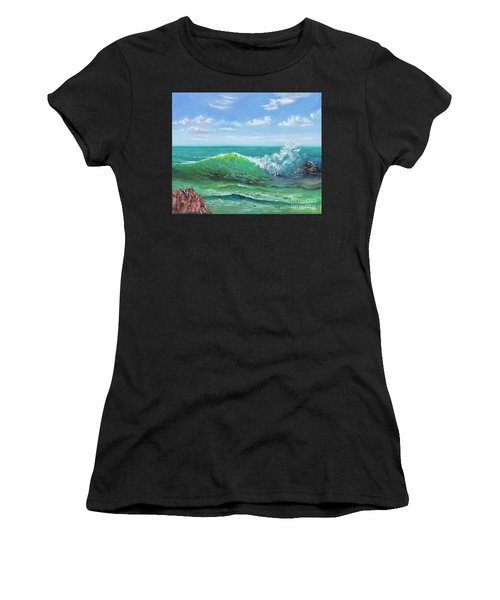 Women's T-Shirt featuring the painting Crashing Wave by Mary Scott
