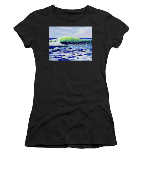 Women's T-Shirt featuring the painting Cresting Wave by Mary Scott