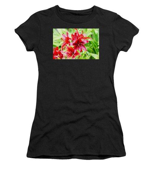Crimson Lilies Women's T-Shirt (Athletic Fit)
