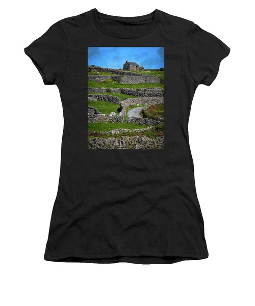 Women's T-Shirt (Athletic Fit) featuring the photograph Criss-crossed Stone Walls Of Inisheer by James Truett