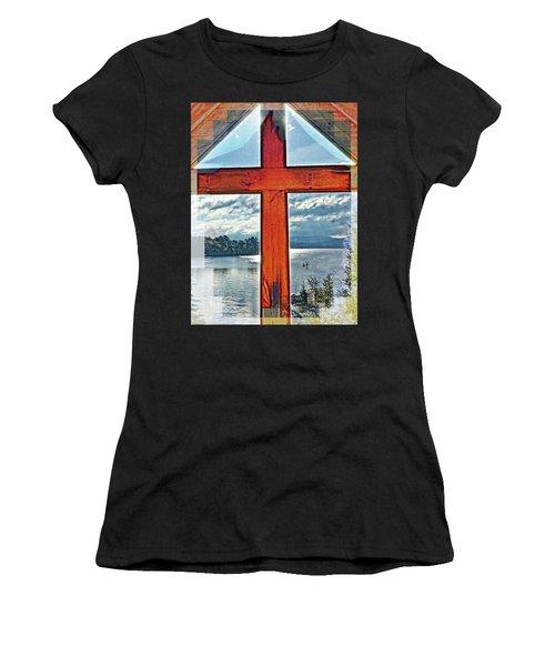 Cross Window Lake View  Women's T-Shirt (Athletic Fit)
