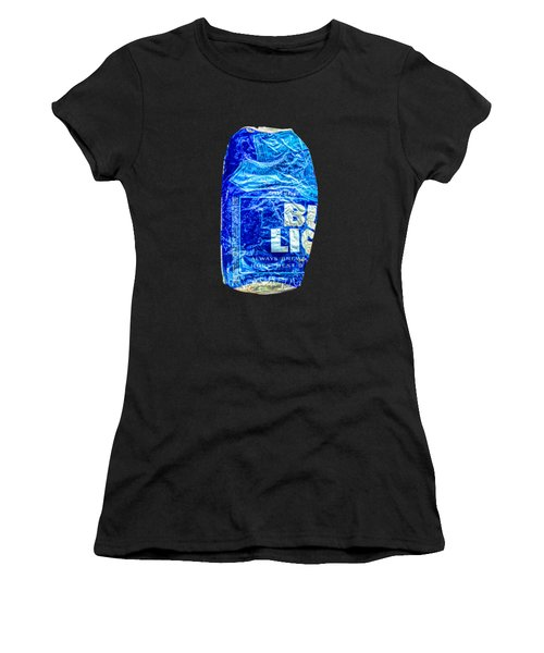 Crushed Blue Beer Can On Plywood Women's T-Shirt