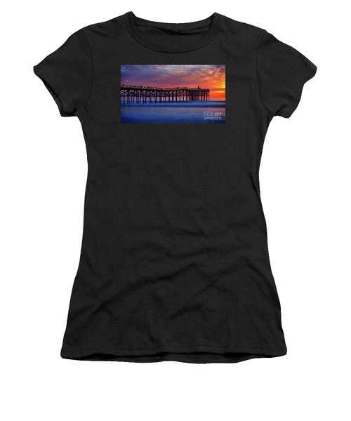 Crystal Pier In Pacific Beach Decorated With Christmas Lights Women's T-Shirt