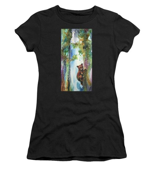 Cub Bear Climbing Women's T-Shirt (Athletic Fit)