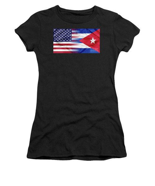 Cuba And Usa Flags Women's T-Shirt (Athletic Fit)