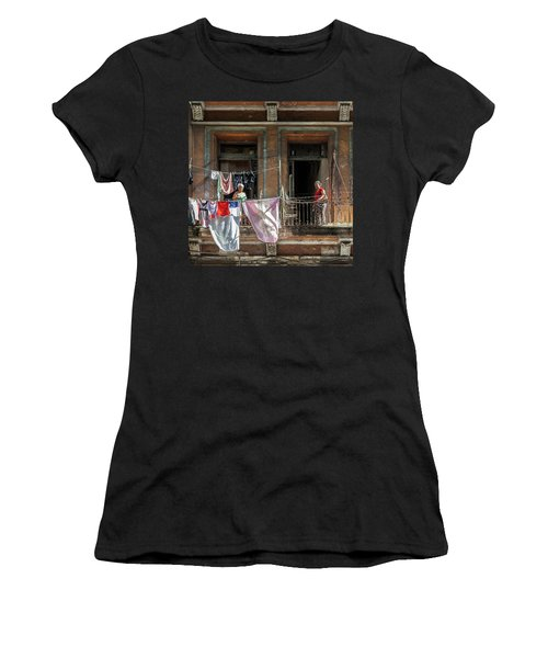 Women's T-Shirt (Athletic Fit) featuring the photograph Cuban Women Hanging Laundry In Havana Cuba by Charles Harden