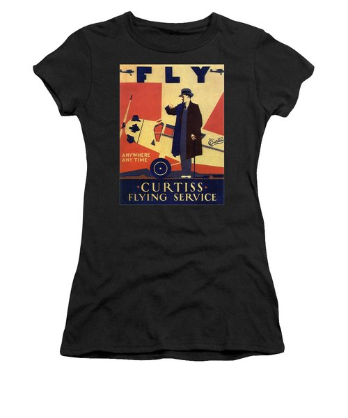 Curtiss Flying Service - Art Deco Poster - Vintage Advertising Poster  Women's T-Shirt