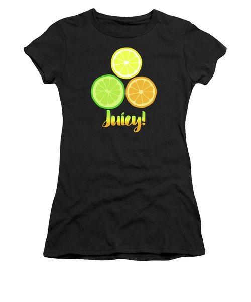 Cute Juicy Orange Lime Lemon Citrus Fun Art Women's T-Shirt (Athletic Fit)
