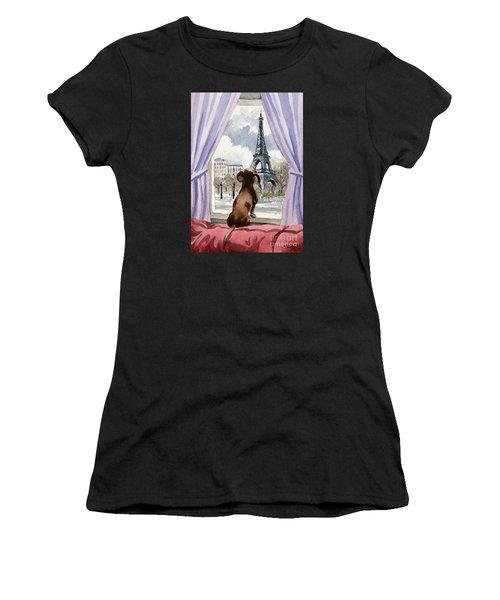 Dachshund In Paris Women's T-Shirt