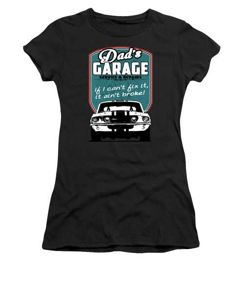Dad's Garage With Mustang Women's T-Shirt