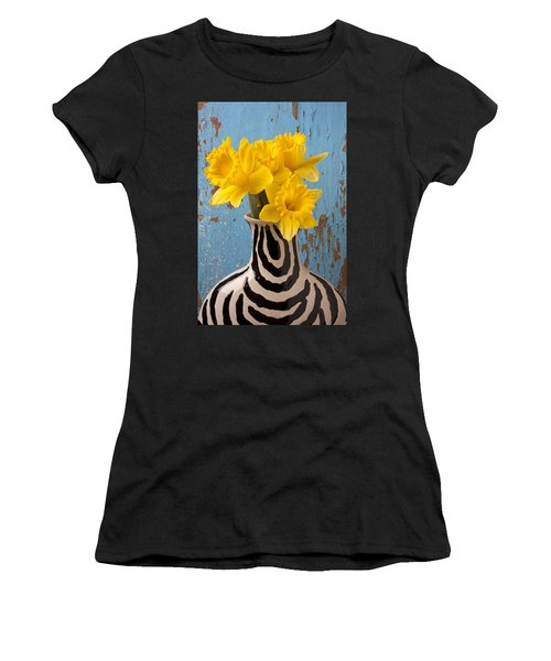 Daffodils In Wide Striped Vase Women's T-Shirt