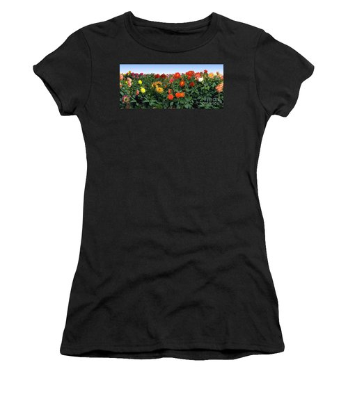 Dahlia Flower Panorama Women's T-Shirt (Athletic Fit)