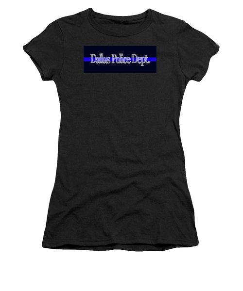 Dallas Police Dept. Blue Line Mug Women's T-Shirt (Athletic Fit)