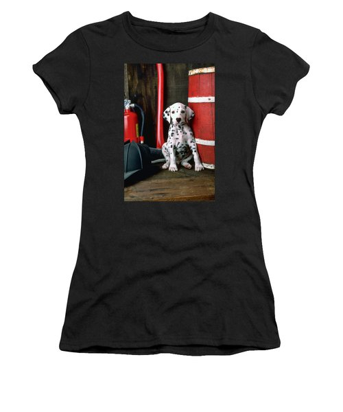 Dalmatian Puppy With Fireman's Helmet  Women's T-Shirt (Junior Cut) by Garry Gay