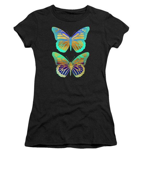 Danaus Plexippus Psychedelicus I, Pop Art Gold Psychedelic Butterflies Women's T-Shirt