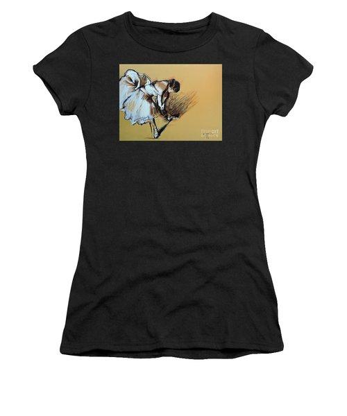 Dancer Adjusting Her Slipper Women's T-Shirt (Junior Cut) by Jodie Marie Anne Richardson Traugott          aka jm-ART